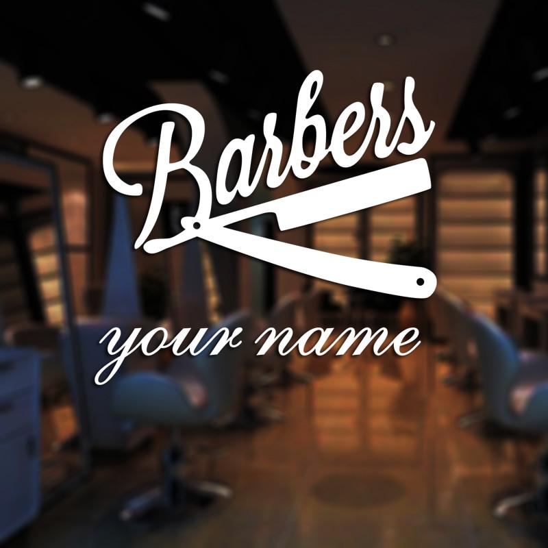 Man Barber Shop Decal Name Chop Bread Sticker Haircut Posters Vinyl Wall Art Decals Decor Windows Decoration Mural