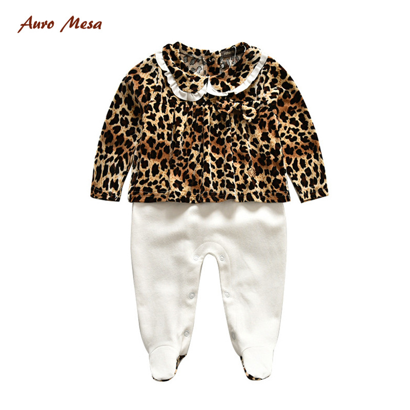 2017 autumn and winter long sleeve baby conjoined Romper climbing clothing brand baby 3pcs Leopard cute Romper out clothes<br><br>Aliexpress