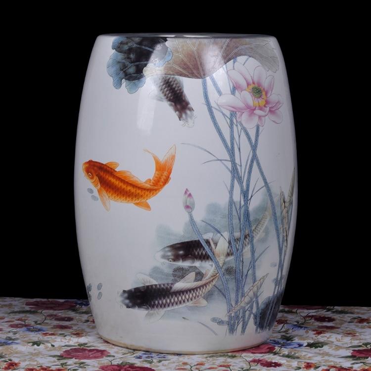 Fish painting Jingdezhen porcelain Garden stool ceramic stool for dressing table drum chinese chinese ceramic garden & Online Buy Wholesale porcelain garden stool from China porcelain ... islam-shia.org