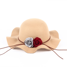 2017 new fedoras Flowers Felt Hat Baby Bowknot Girl Big Brim Floopy Cap Children Accessories Kid Fedoras Christmas(China)