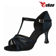 Satin With Transparent Mesh Woman Latin Dance Shoes High Quality Low Cost Soft Shoes Evkoo-015