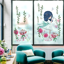 Girl room decoration electrostatic film glass foil flower living room bedroom balcony window stickers removable stickers -37