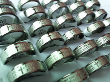 Brand New 25PCs English Jeremiah 29:11 Prayer Stainless Steel Etching Polished Band Rings Wholesale Lots(China)