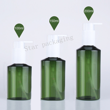 50pcs 100/150/200ml green round lotion pump bottle,green shampoo containers for cosmetic packaging with liquid soap dispenser(China)