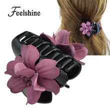 Feelshine 2017 New Hair Jewelry Blue Pink Purple Suede Fabric Flower Hair Claws Hairwear Women Accessories(China)