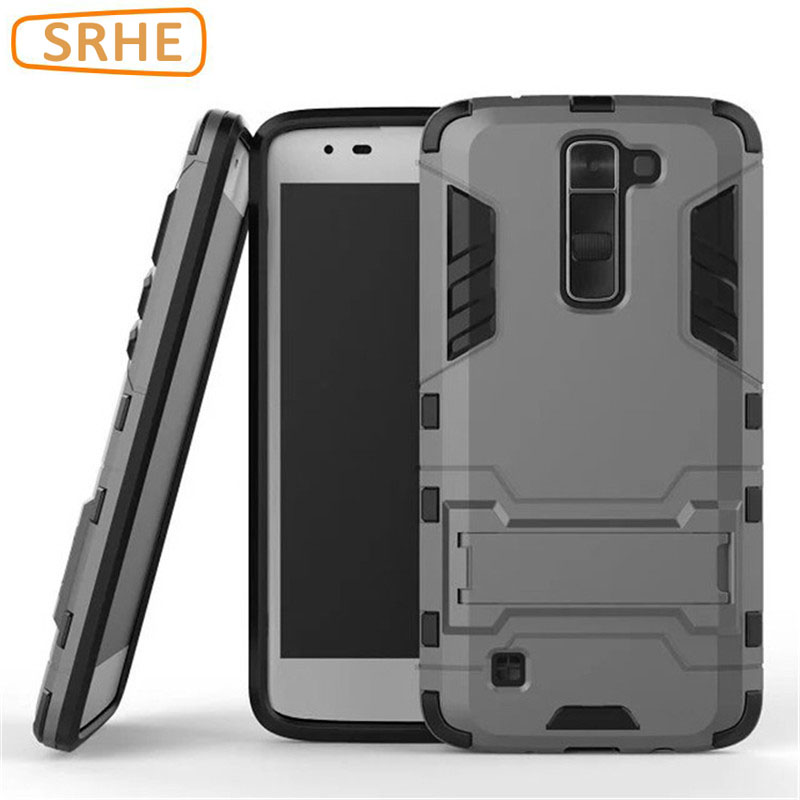 LG K7 Case Plastic + Soft Silicone Armor Stand Full Cover LG K8 2016 Case X210ds X210 MS330 Funda Coque Phone Holder