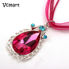 Vcmart 1Pcs Sofia Ribbon Necklace Princess Sofia The First Chain Necklace with Pink Teardrop Amulet Pendant(China)