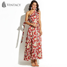 Vintacy Women Maxi Dress One Shoulder Red Print Floral Party Dresses 2017 Fashion Lace Up Belt Female Beach Bohemian Long Dress(China)
