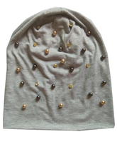 B-17909 Fashion 100% cotton good stretchy gold and brown pearl and crystal beanies punk hat design custom(China)