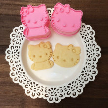 2pcs/set Cartoon HELLO KITTY Micky 3d Cookie Cutter Set Molds for Cookies Cookie Stamp Cooking Tools diy