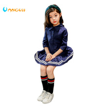 girls dress cotton full sleeve dress 5-13 years old College wind all match bow girls sequins party princess dress Navy style(China)