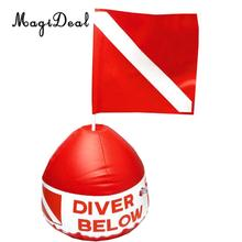 MagiDeal High Quality 1Pc PVC Inflatable Dive Buoy With Red Flag Snorkel Scuba Diving Surface Marker Safety Outdoor Accessory