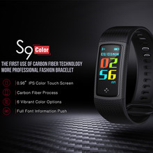 Smart Bracelet S9 Carbon fiber technology 096 inch color IPS display heart rate blood pressure blood oxygen measurement PK S2(China)