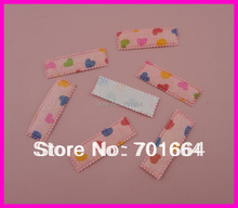 300PCS Colorfu lHeart printing frilly edges Glitter Peach chiffon fabric snap clips covers for 45mm clips