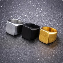 Free Custom Engraving Square Face Men's Plain Statement Rings in Stainless Steel - Silver, Gold, Black