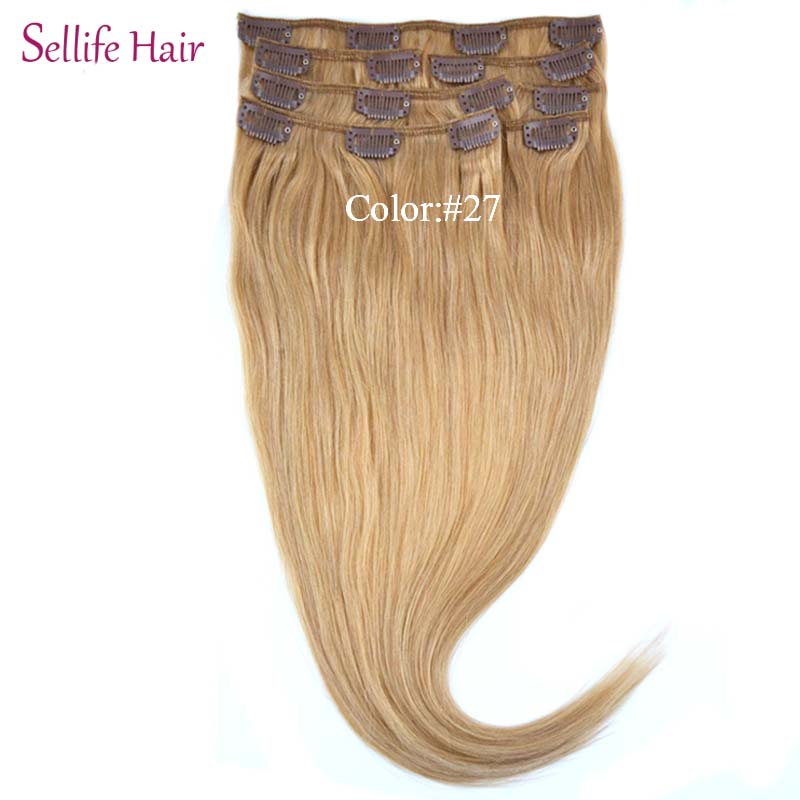Clip In On Hair Extension 20100g 8pcs/Lot 100% Real European Female Straight Hairextension #27 Dark Blonde<br><br>Aliexpress