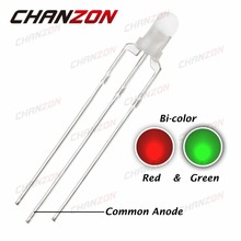 CHANZON 100pcs 3mm Common Anode LED Diode Red And Green Diffused 20mA Round 3 mm Bicolor 3pin LED Light Emitting Diode Lamp DIP