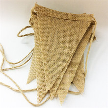 1 string Natural Burlap Pennant Banner Natural color Jute Bunting Flags for Party Decoration Event Party Supplies