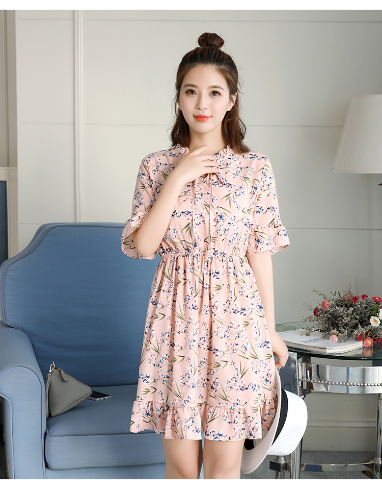2018 Free Shipping New Fashion Floral Chiffon Summer Dresses Sweet Thin Word Slim Women Work Wear Print Dress Casual Cute Hot 4