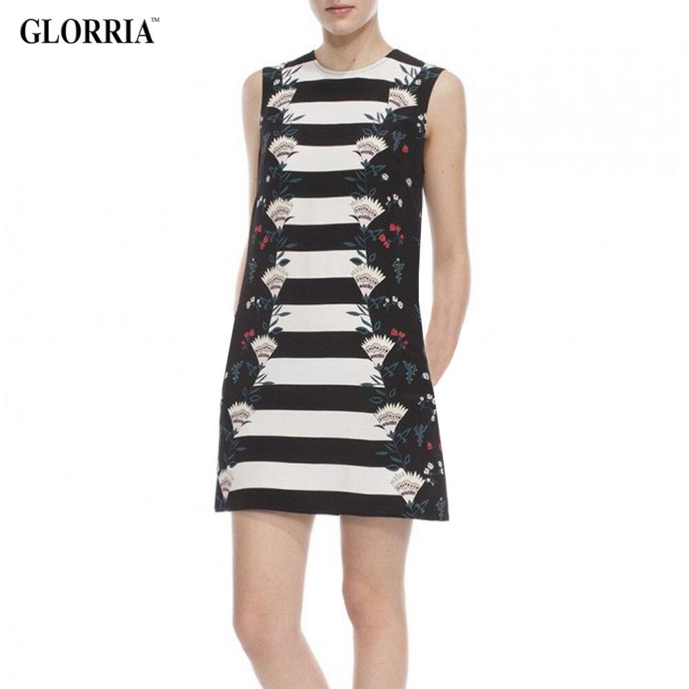 Glorria Women Print Strip O-Neck Sleeveless Dress ...