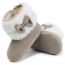 Baby Toddler Shoes Babies Winter Warm Booties Faux Fleece Anti-Slip Toddler Newborn Baby Shoes Bow Crib Shoes Snow Boots        (China)