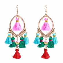 KMVEXO Bohemian Pearl Fringe Earrings For Women Handmade Cotton Tassel Big Dangle Drop Earrings Bohemian Statement Jewelry(China)