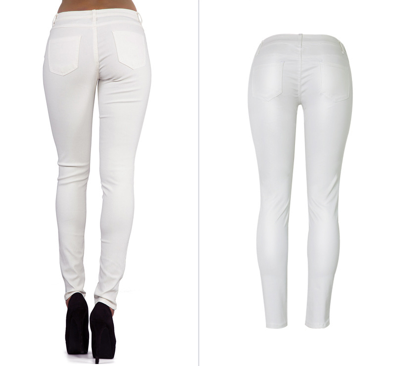 Europe and the United States women's low waist stretch pants feet double zipper PU white coating imitation leather pants large size (3)