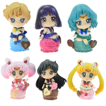 6pcs/set Sailor Moon Luna Chibi Usa Tenoh Haruka Ice Cream Party PVC Action Figure Toys Collection Model Doll