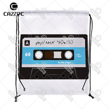 Retro Blue Pop Rock Tape Pattern High Quality Print Custom individual Nylon fabric Drawstring Backpack gift bag(China)