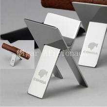 (Pack of 20)Wholesale !COHIBA Practical High Quality Stainless Steel Foldable Stand Showing Portable Cigar Ashtray Holder(China)
