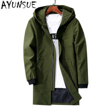 AYUNSUE Green Mens Jackets And Coats Casual Men's Windbreaker Hooded Men Jacket Plus Size 4XL Outwear Coat Men Clothes FYY572