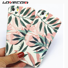 LOVECOM For iPhone 5 5S SE Case Retro Pink Green Leaves Pattern Matte Hard PC Phone Cases For iPhone5 Back Cover Coque Fundas(China)