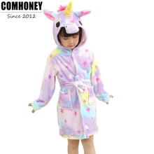 Children Towel Beach Baby Bath Robe Animal Rainbow Unicorn Pattern Hooded Bathrobes Boys Girls Pyjamas Bebe Kids Sleepwear