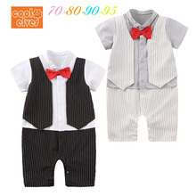 HI BLOOM Baby Tuxedo Jumpsuit Boy Gentlemen Bow Tie Striped Rompers 2 Color Short Sleeve Jumpsuit Wedding Birthday Party Clothes