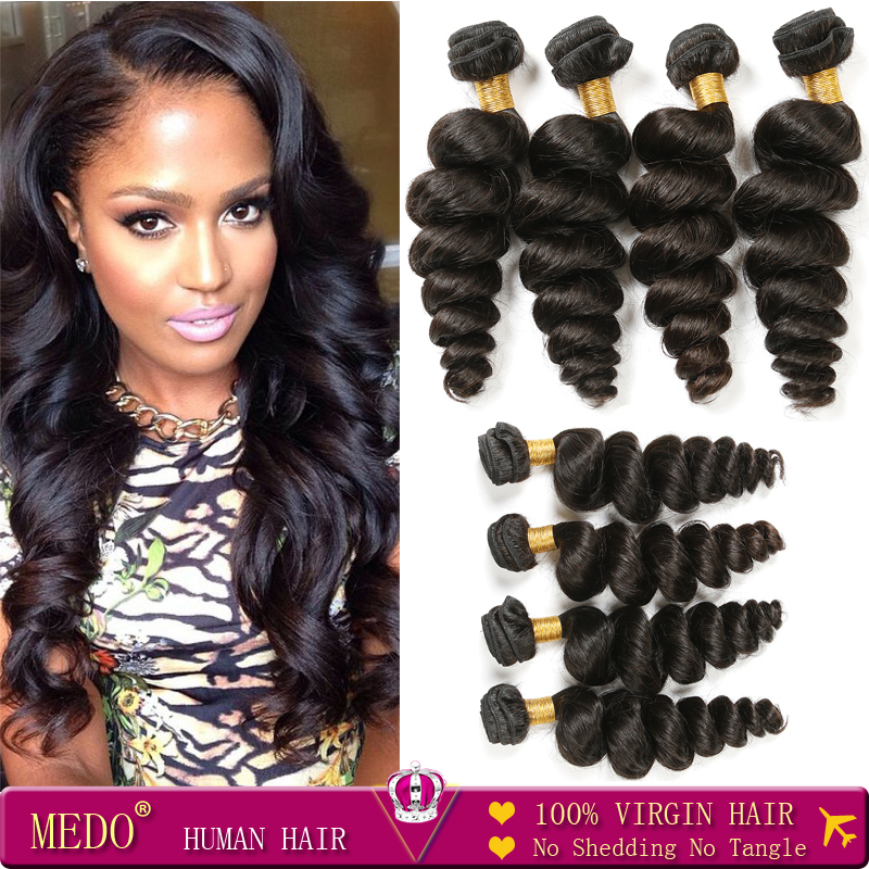 7A Unprocessed Brazilian Virgin Hair 4 Bundles Brazilian Loose Wave #1B Human Hair Rosa Hair Products Indian Curly Virgin Hair<br><br>Aliexpress