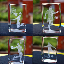 K9 Crystal Cube Basketball Football Superstar 3D Laser Engraved Crafts Quartz Glass Figurines Ornaments Paperweight Souvenirs