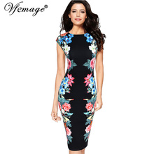 Vfemage Womens Elegant Vintage Symmetrical Floral Flower Print Cap Sleeve Summer Slimming Casual Party Pencil Sheath Dress 2845(China)