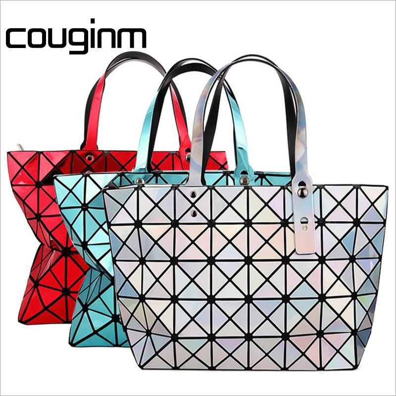 COUGINM New Arrival Womens Hologram Bag Fashion PU Geometric Lattice Diamond Tote Shoulder Bags Hot Sale laser Handbag<br>