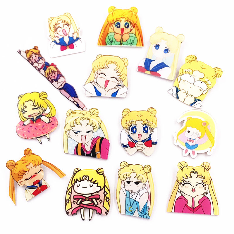 1pcs Cartoon Harajuku Style Kawaii Pretty Soldier Sailor Moon Acrylic Brooch Badges Pin Backpack Clothes Decoration Brooches New Varieties Are Introduced One After Another Arts,crafts & Sewing