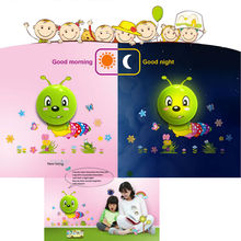 Creative cute 3D wall stickers DIY with plug led night lights smart sensor night light Children room lights LED Lamp
