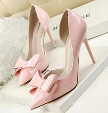 New Sweet Women Pumps Spring Summer Bowknot Shallow Pink High Heels Elegant Pointed Toe Stiletto Heel Wedding Shoes K429