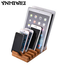 Ynmiwei Mobile Phone Stand Holder Wood Bamboo Desk Dock For Apple iPhone Smart Phones Display Lazy Multi-Function Socket Mount(China)