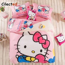 Colorful Hello Kitty 100% Cotton Bedding Set Double Single Bed For Kids Adults Bed Linens Pillowcase Cartoon Duvet Cover Set