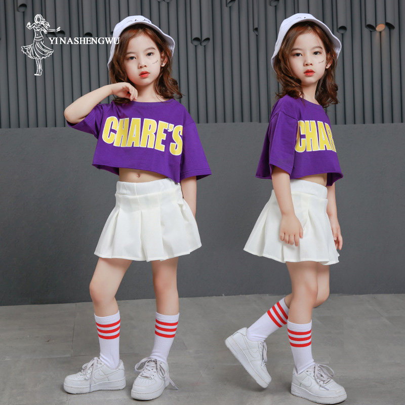Street Dance Clothes for Girl Jazz Dance Costumes for Girls Cute White mall Skirt Suit New Suit Fashion Hip Hop Short Sleeve