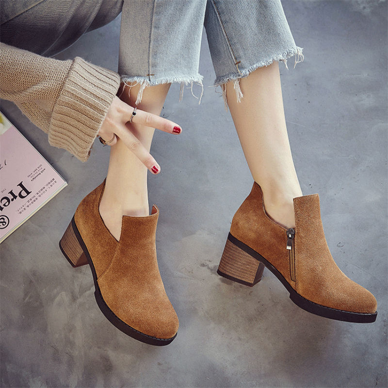 Hot sale British brand fashion women casual shoes autumn genuine leather ankle boots slip-on sapato feminino size 35-40 JA661W<br>