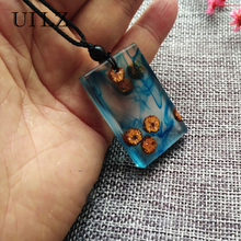 UILZ Fashion Resin Secret Wood Necklace Pendant for Women Men Jewelry Handmade Blue Resin Magic Rectangle Choker Gifts JWNP062