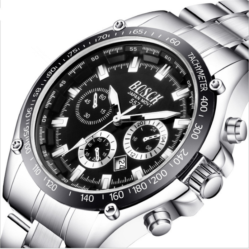 In 2018, BOSCK brand mens watch date day stainless steel hourglass dress fashion leisure quartz watch sports watch<br>