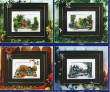 Fishxx Cross Stitch T186 scenery [house of the four seasons spring, summer, autumn and winter]100% accurate,11CT,embroidery