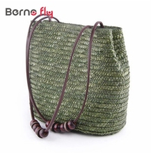 Fashion Solid Shopping Tote solid zipper Beach Bag Casual Bucket Straw Tote Bag Summer Shoulder Bag Vintage Women Handbag
