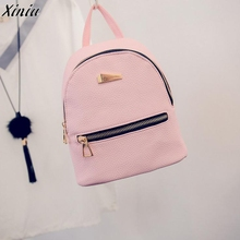 2017 New Women's Backpacks Brand Design Fashion Black High Quality Leather Backpack Travel For School Bags Teenage Girl Rucksack(China)